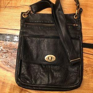 Genuine Leather Roots Crossbody Handbag - Large